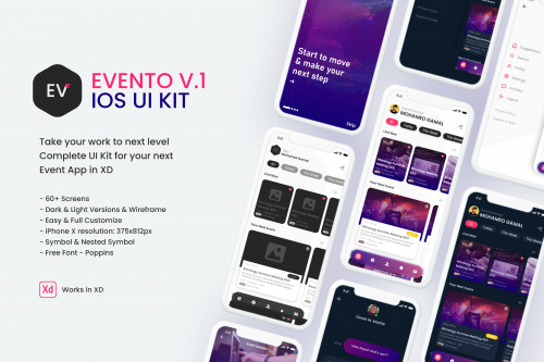 Evento V.1 -  iOS UI Kit Take your work to next level Evento iOS UI Kit Complete UI Kit for your next Event App in XD   ✅ 50+ Screens Dark & Light Versions & Wireframe ✅ Easy Customize ✅ iPhone X resolution: 375x812px ✅ Symbol & Nested Symbol ✅ Works in XD ✅ Free Font ✅ Vector-Based ✅ Dark & Light Versions ✅ Free Images  We hope you guys like it. Feel Free To Leave Your Feedback Thanks